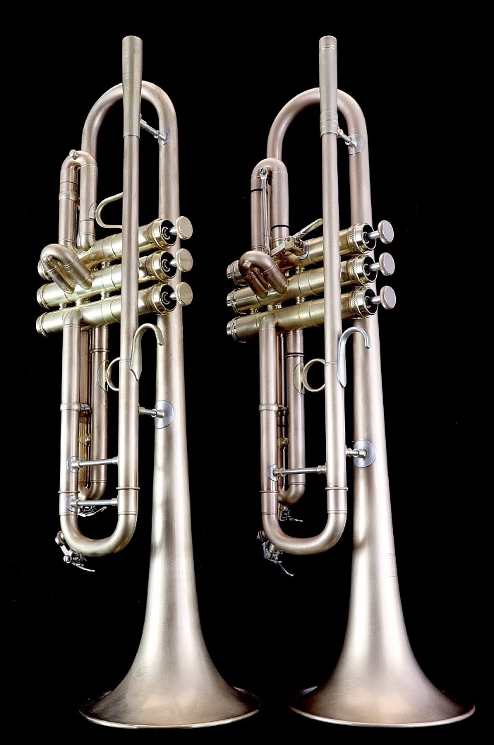 Two differently configured RBM Bb trumpets